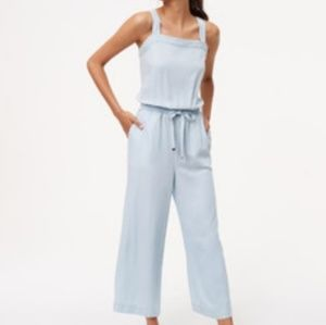 Loft Chambray Drawstring Jumpsuit in Blue